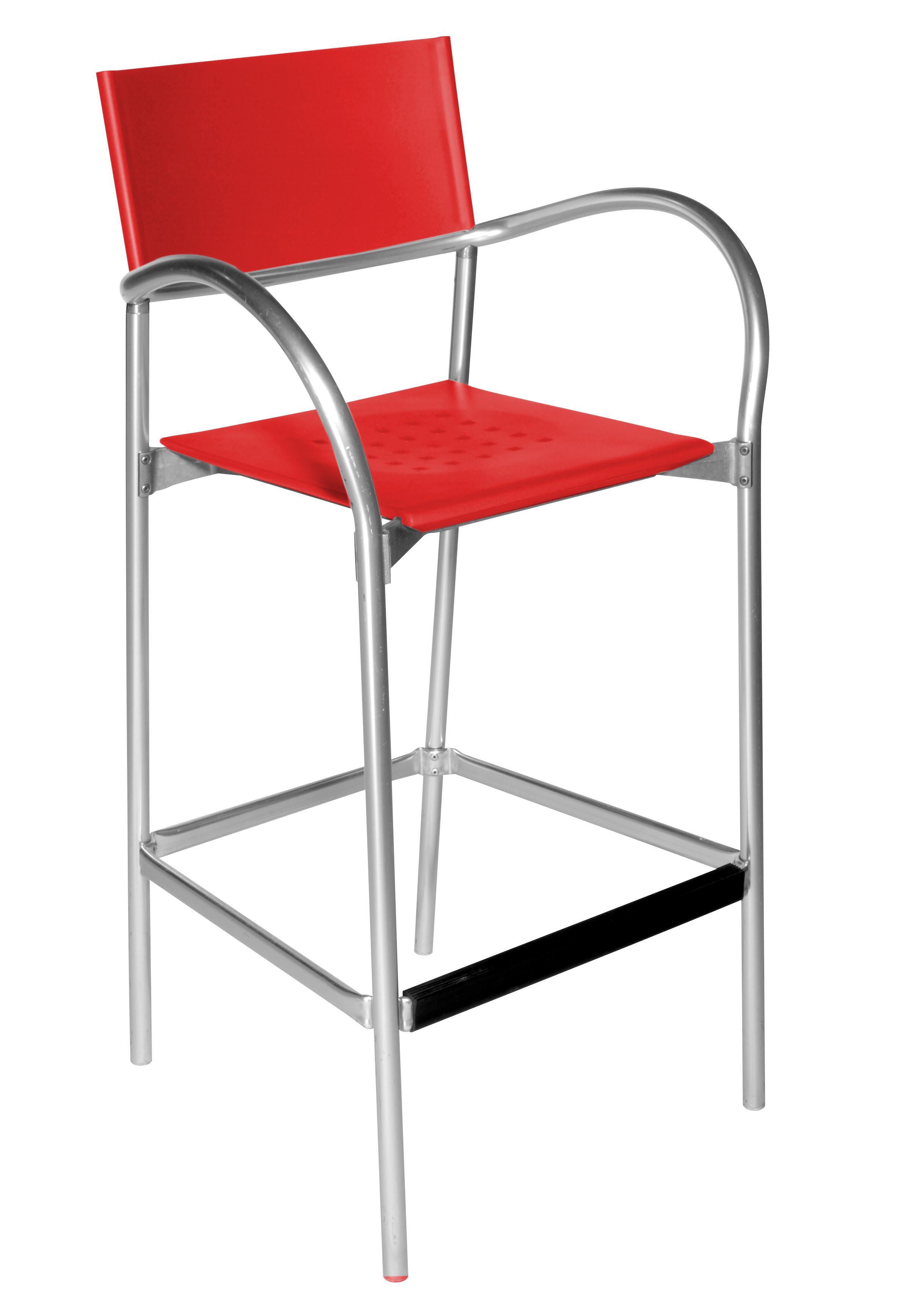 BREEZE Designer-Barhocker Outdoor-geeignet (Carlo Bartoli, Segis), rot / schwarz / weiß, mit Lehnen - MEGA-reduziert!
