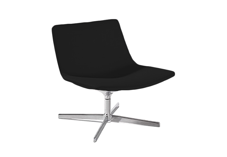 Lounge-Sessel Catifa 60 (Arper, Design-Sessel, schwarz / weiß, Kunstleder, höhenverstellbar, drehbar / Drehstuhl, Lievore Altherr Molina - perfekt für Hotel, Lounge, Meeting, zu Hause) - MEGA-reduziert im Ausverkauf!