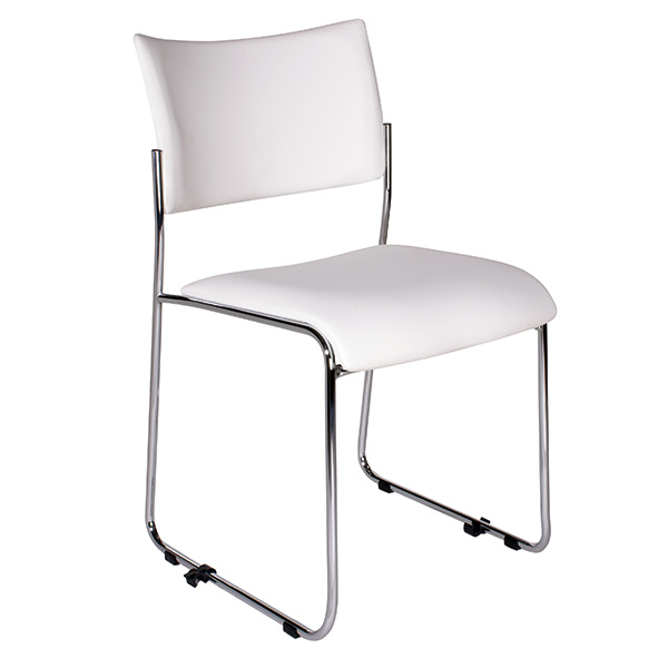 Event-Stühle ITSA: leicht, reihenverbindbar - gepolstert, Kunstleder, kombinierbar (in Reihe verbindbar), weiß