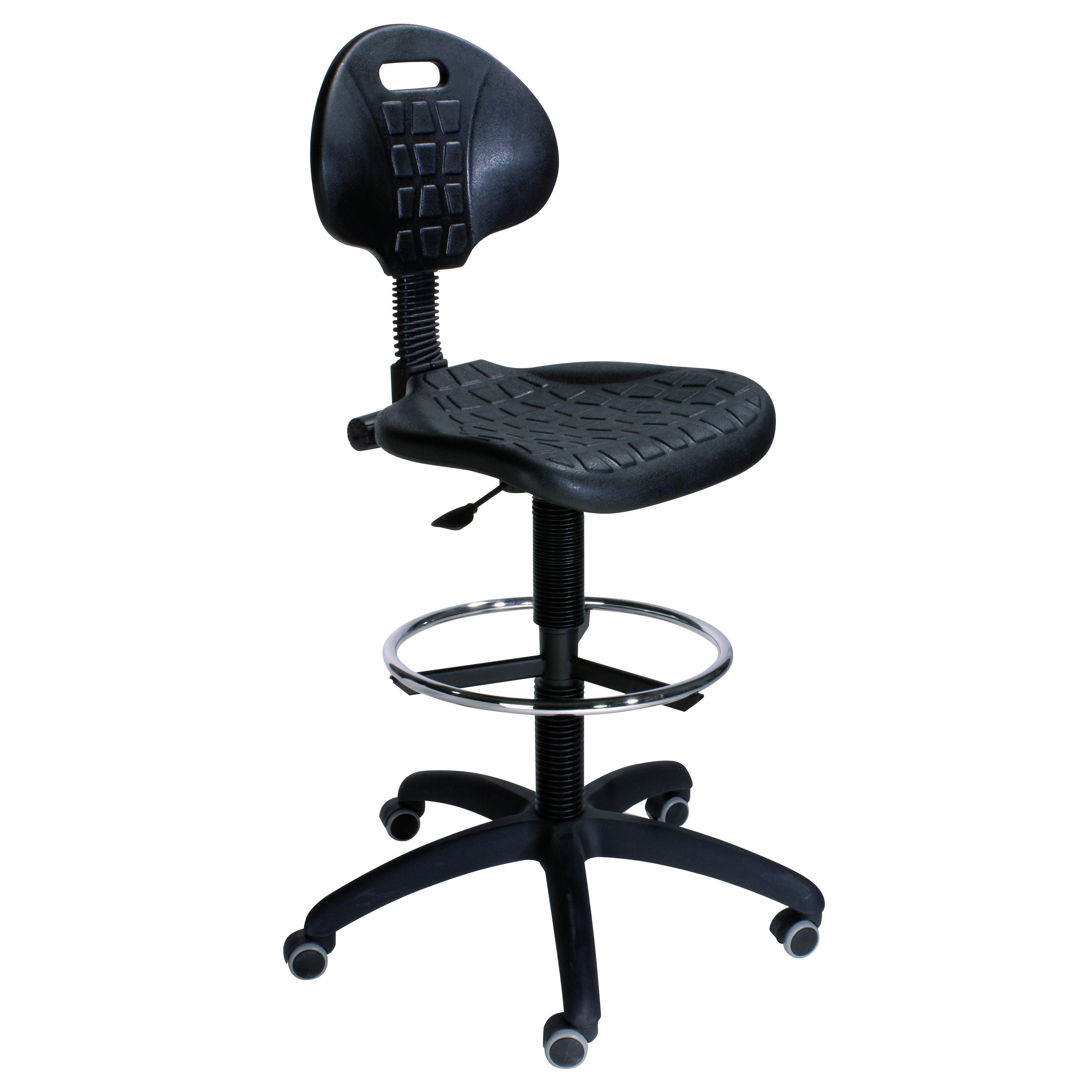 Arbeitsdrehstuhl HV - Drehstuhl für perfekt-stabile Haltung, für Künstler, Designer und im Handwerk (drehbar, höhenverstellbar, mit Fußstütze)