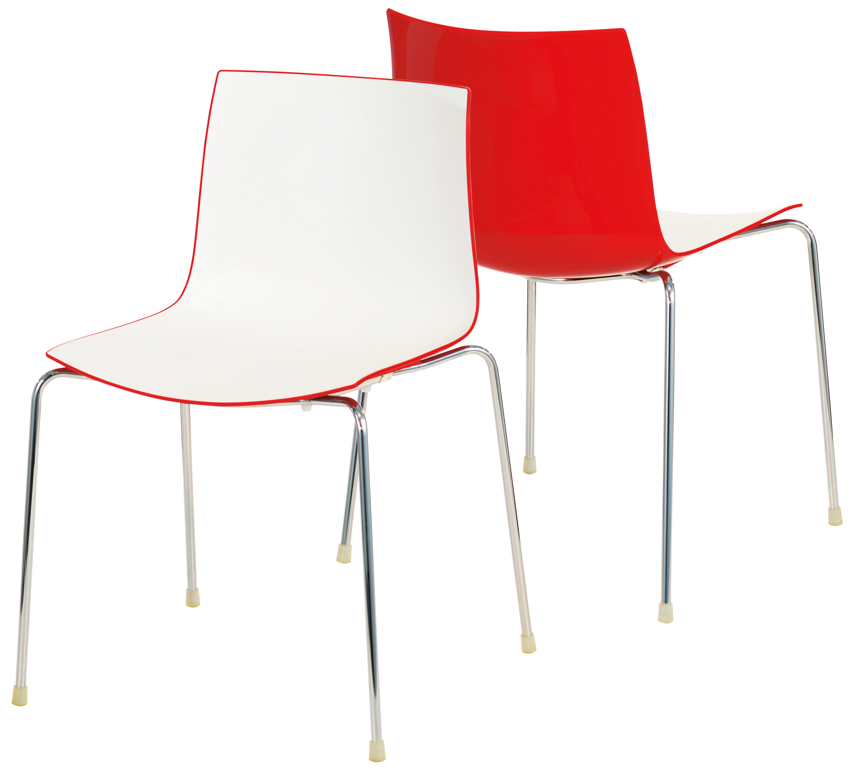 Designer-Stuhl Catifa 46: Filigran für Indoor & Outdoor (Arper, Lievore Altherr Molina, 2-farbig, kombinierbar per Reihenverbinder, stapelbar)