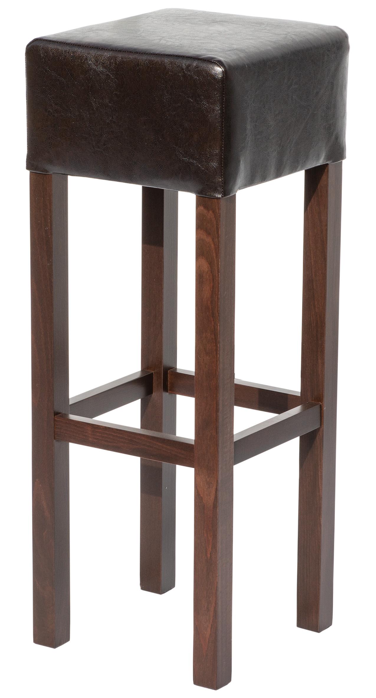 Barhocker Bristol (Tresenhocker, Massivholz, Buche, dunkelbraun / braun / antik-braun, Kunstleder, Nussbaum - rustikal elegant - Barstühle & Tresenhocker)