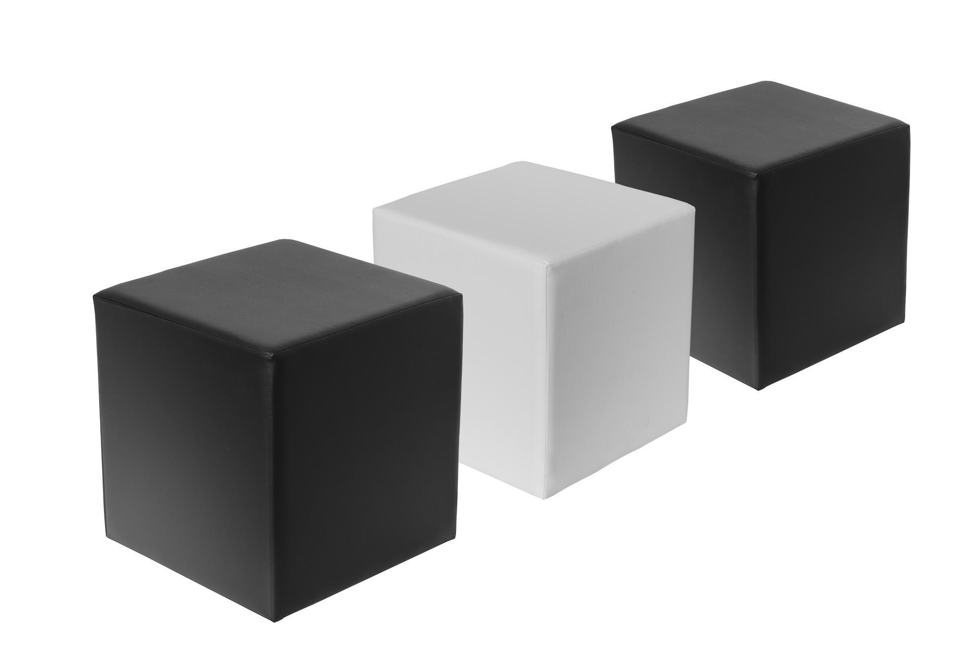Sitzwürfel KUBY (ähnl. CUBE) - die beliebten Hocker in schwarz / weiß, Sitzhocker, Kunstleder - bequem & stylisch