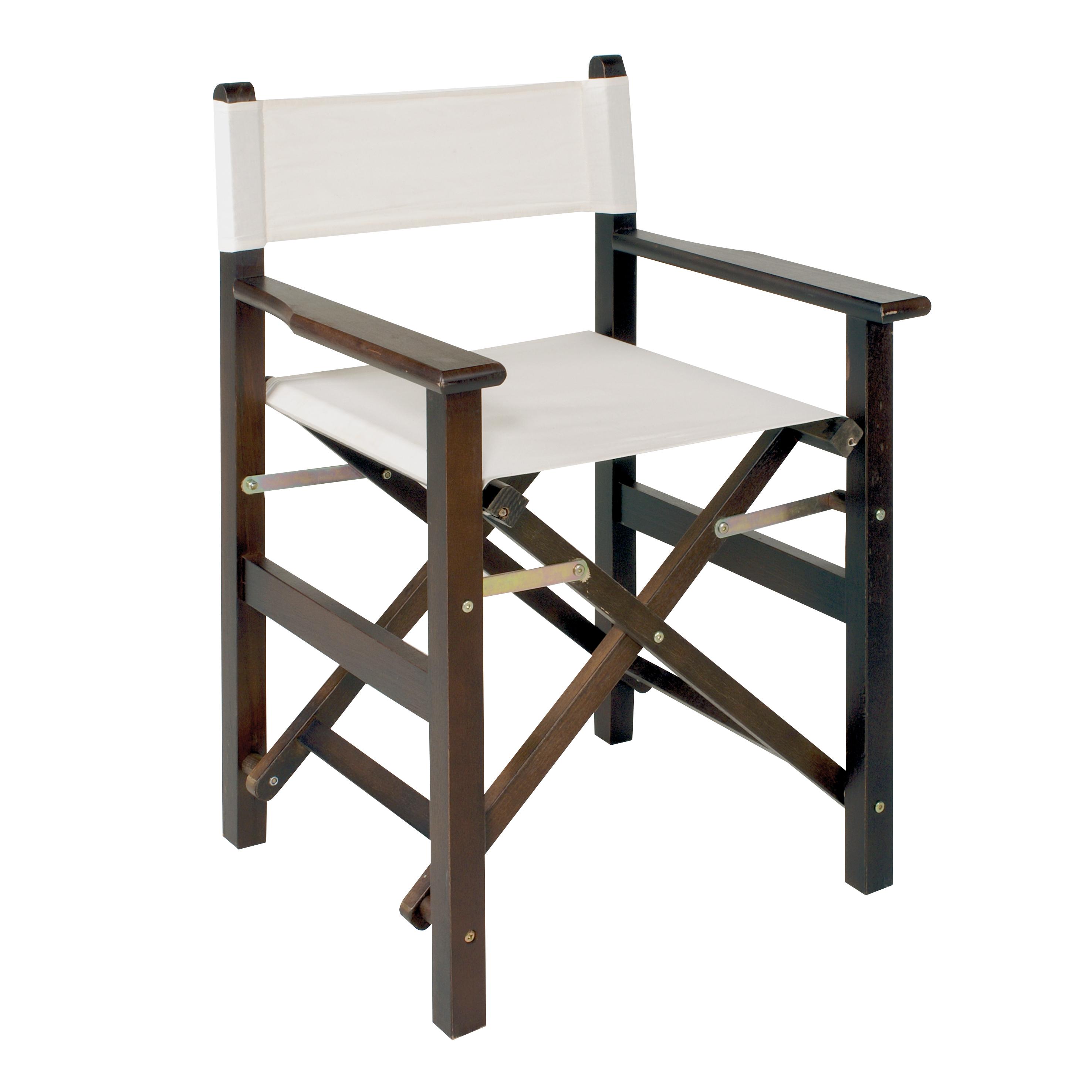 Regie-Stuhl CANNES: Liebhaber-Design-Stuhl, ideal für Fotostudio, Beauty & Friseur-Salon (Holz: Nussbaum, mit Lehne)
