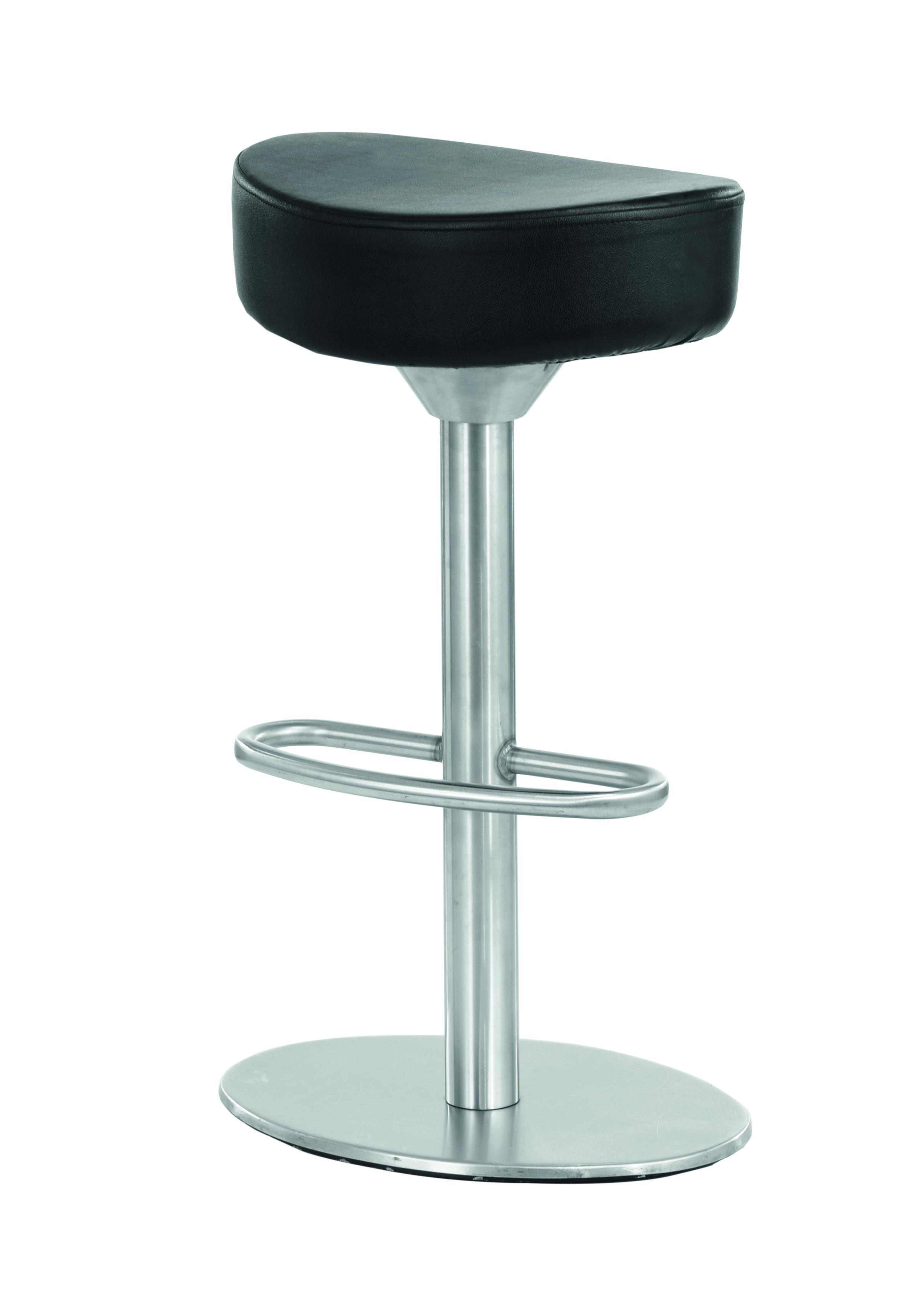 """COMO Barhocker (Edelstahl, gebürstet, Sitz aus Kunstleder, schwarz) - perfekt in Kombi mit """"Frankfurt"""" (Tische, Stühle, Hocker)"""