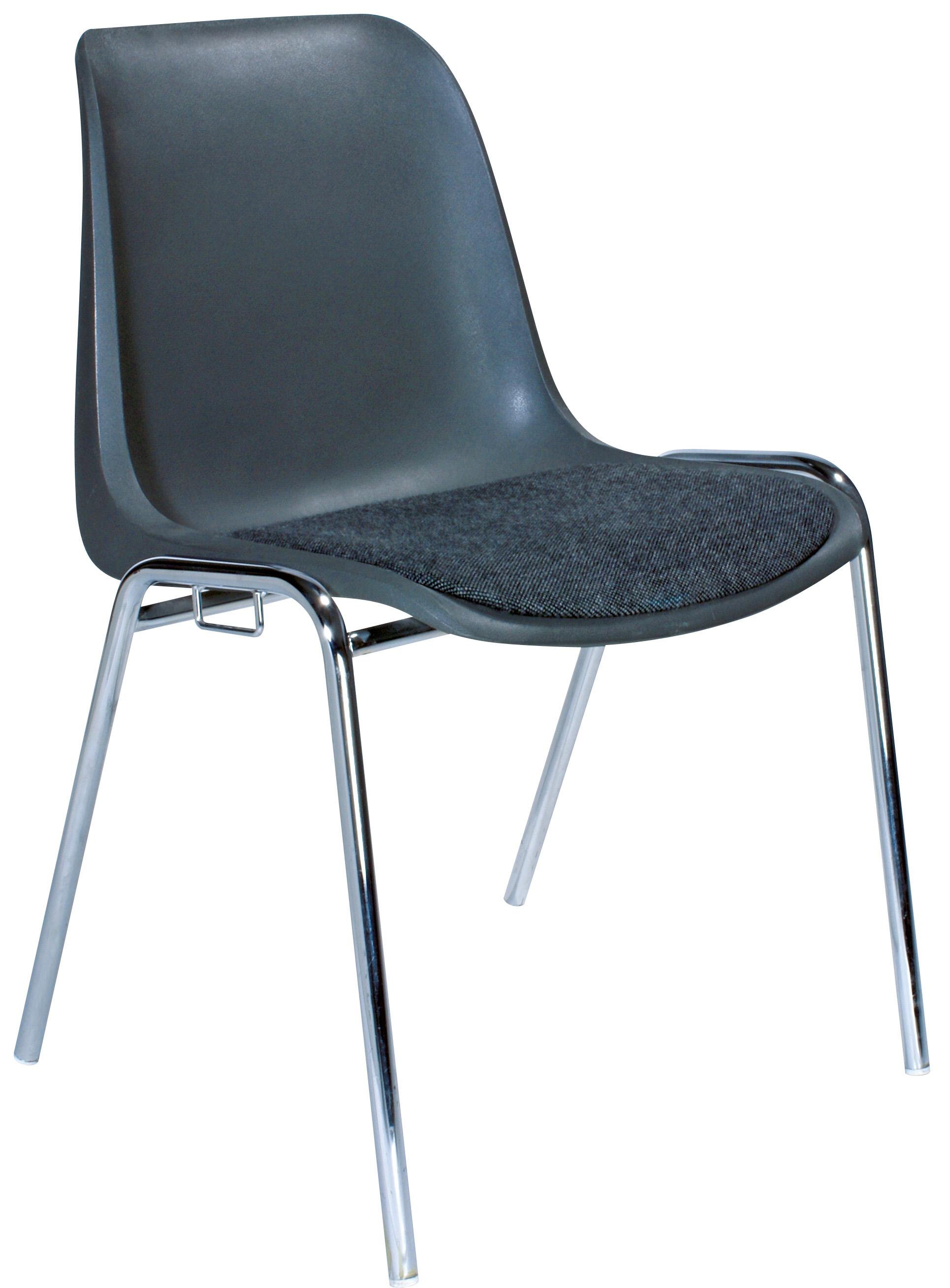 Reihenstühle (gepolstert, mit Reihenverbinder) im 10er-Set, ideal als Seminar-Stühle für Besprechung, Versammlung, Bankett, Kantine (schwarz / anthrazit)