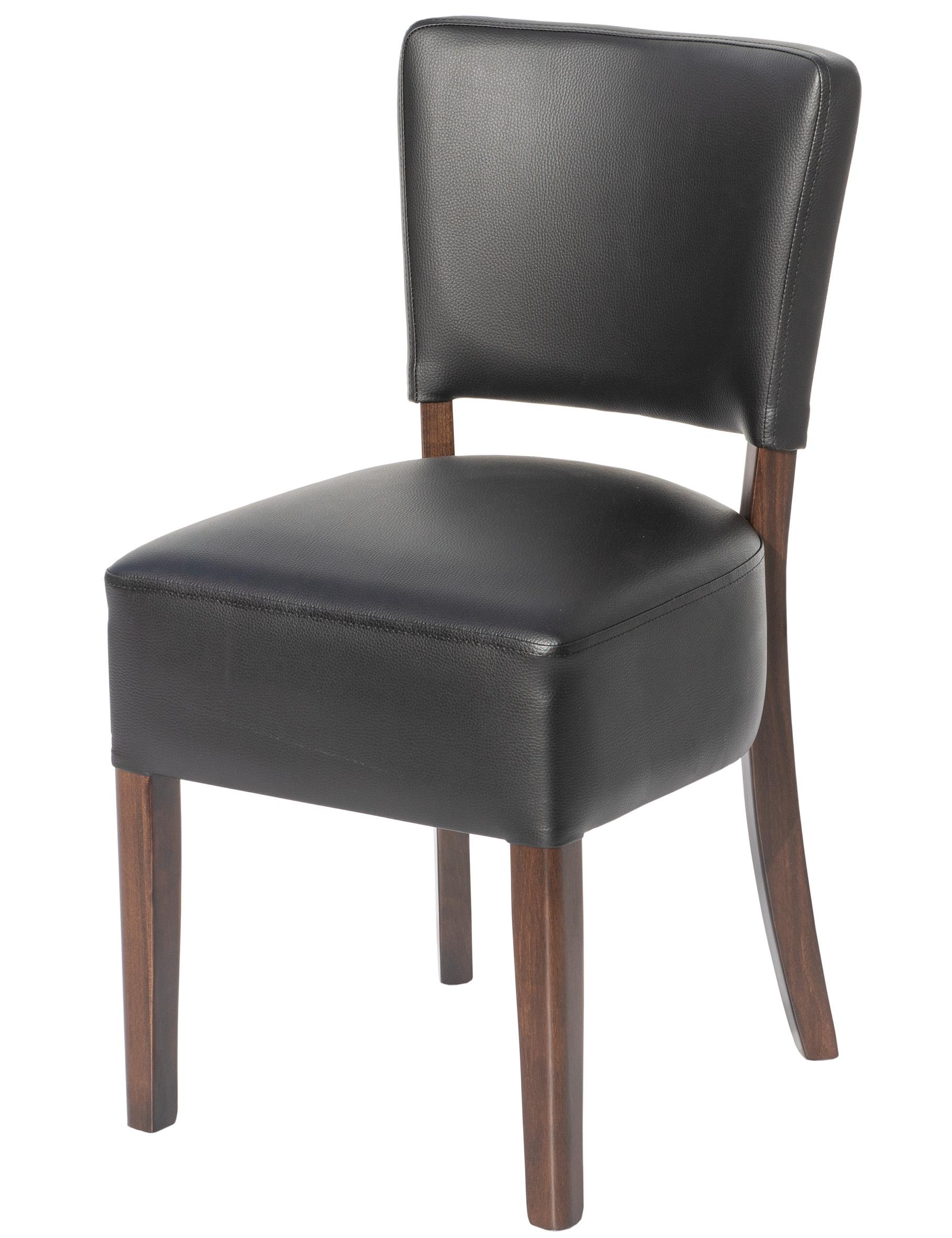Polsterstuhl Glen Black SCHWARZ - Restaurant-Stuhl (Kunstleder Nappa, Vollpolsterung, ideal für Gastro, Esszimmer, Meeting) im Urban Stil, massiv
