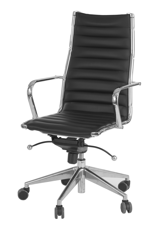 Büro-Drehstuhl CHEF - Leder, höhenverstellbar, mit Rollen (Drehstühle, Office-Sessel, drehbar, rollbar, Höhe verstellbar, Echtleder - weiß / schwarz)